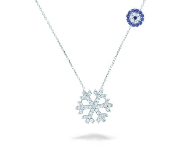 Halskette in 925´er Schneeflocke mit Nazar Armulett