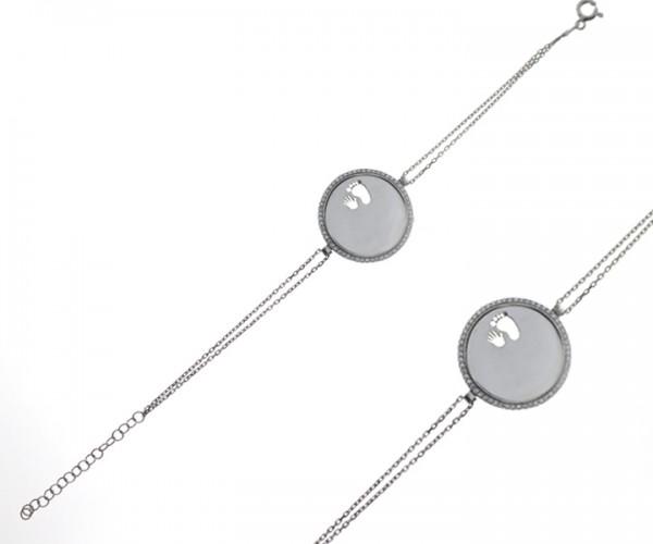 Damen Armband in 925´er Silber mit Fuß und Hand