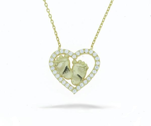 Halskette Herz mit Fußabdruck