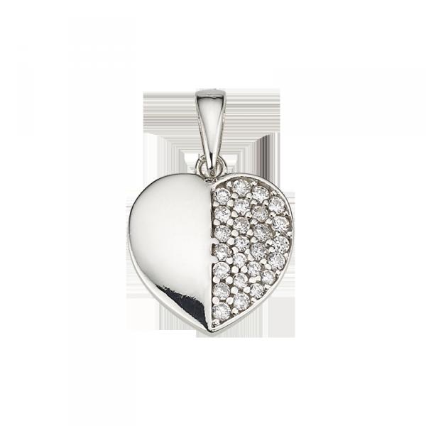 Herzanhänger in 925´er Sterling Silber mit einer gespalteten Zirkonia Platte