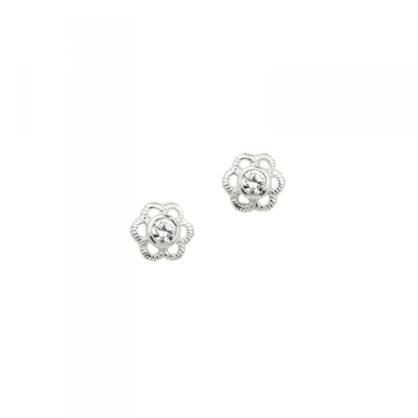 Ohrstecker in 925´er Sterling Silber in großartigem Blumen Design mit einem Weißen Zirkonia Kern
