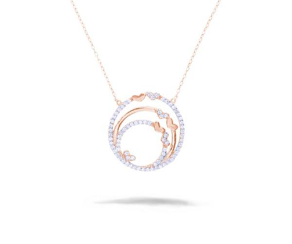 Halskette mit Anhänger 925'er Silber rosê-vergoldet, rund mit Herzen