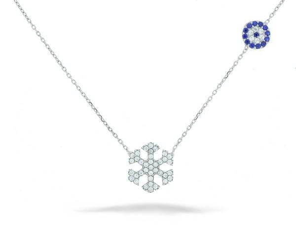 Schneeflocke Halskette mit Nazar Armulett