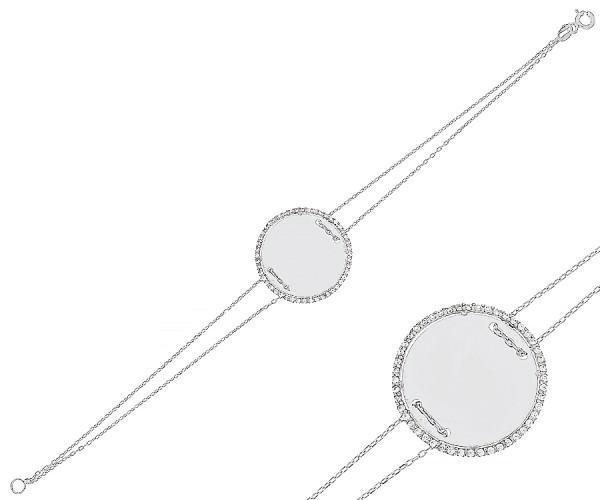 Damenarmband mit runder Gravurplatte 18 cm 20172