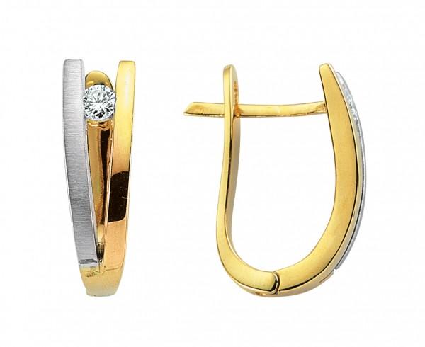 Diamant Ohrringe Creole in 585`er Gelb- /Weißgold