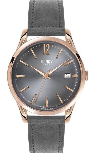 Henry London Damen Finchley grau Leder Armbanduhr HL39-S-0120
