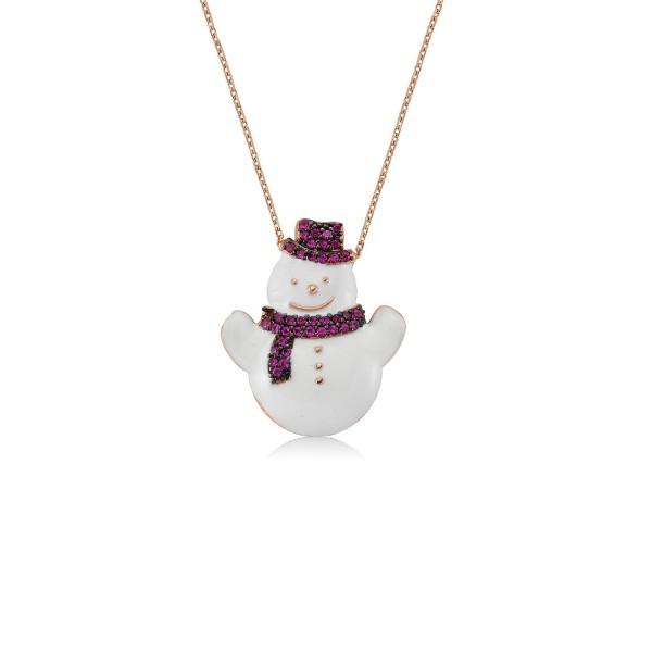 925´er Silber Halskette rose vergoldet mit Schneeman-Anhänger