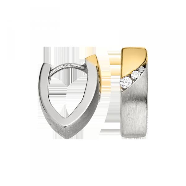 Creole in 925´er Sterling Silber mit Zirkonia und goldener Farbe