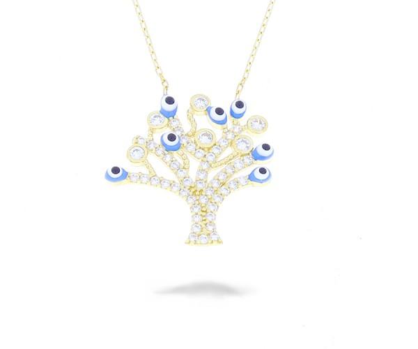 Baum des Lebens mit Nazar Armulette in 585er Gold