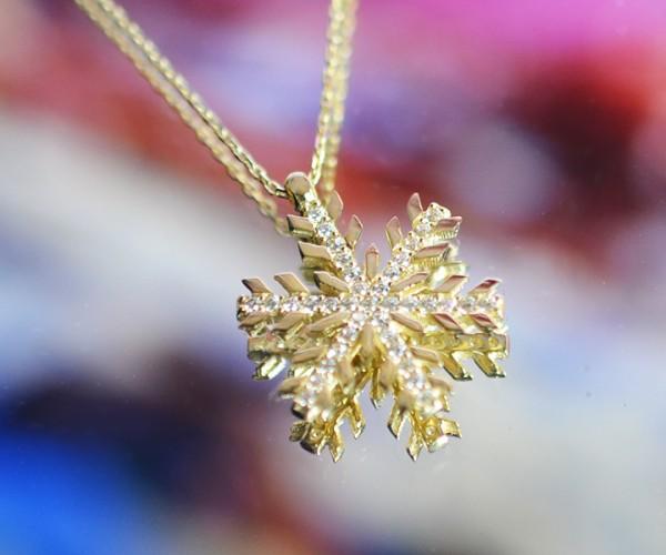 585´er Gelbgold Halskette mit Schneeflocken-Anhänger