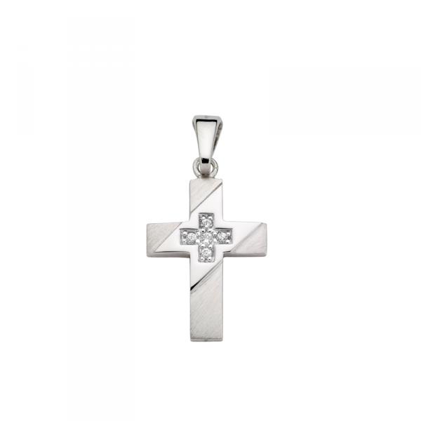 Kreuz Anhänger in 925´er Sterling Silber Hochglanzpoliert und Schrägmattiert CEM