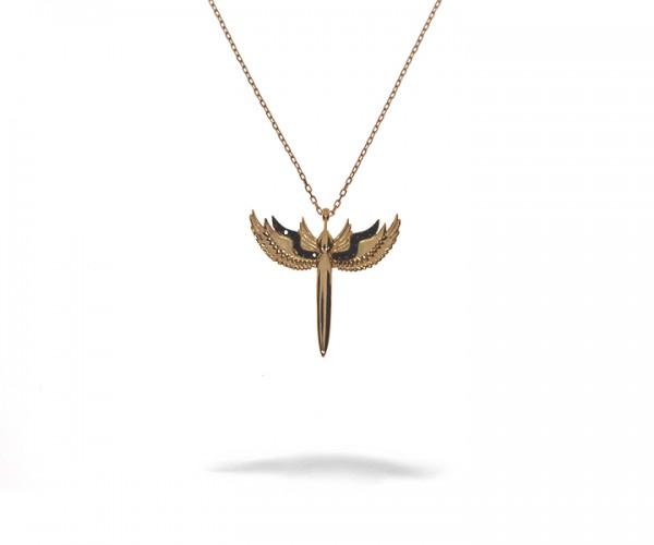 925´er Sterling Silber Halskette mit Flügel Anhänger