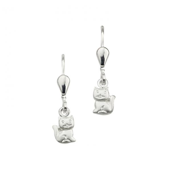 Ohrhänger in 925´er Sterling Silber mit schönen Katzen