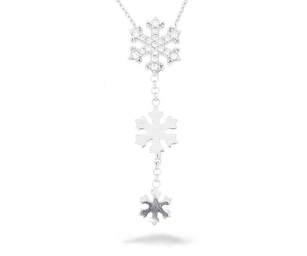 Halskette in 925´er mit drei Schneeflocken