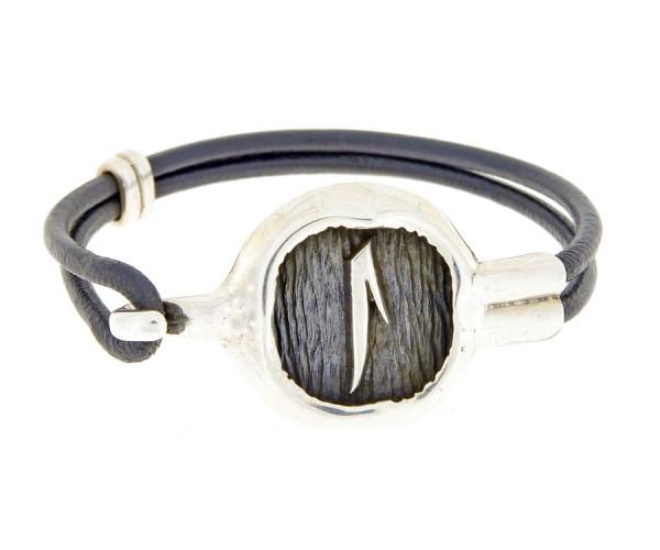 Herrenarmband aus Leder u. Silber 'Alif', 27 cm