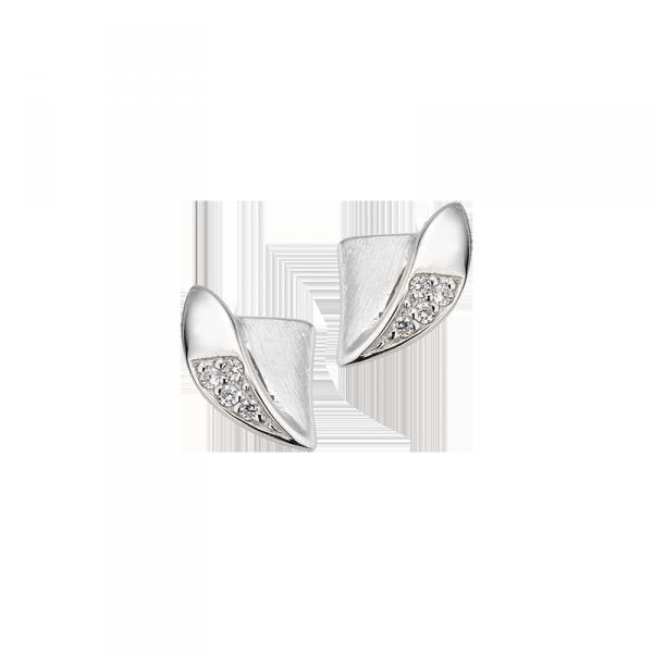 Ohrstecker in 925´er Sterling Silber mattiert, poliert und mit Zirkonia besetzt