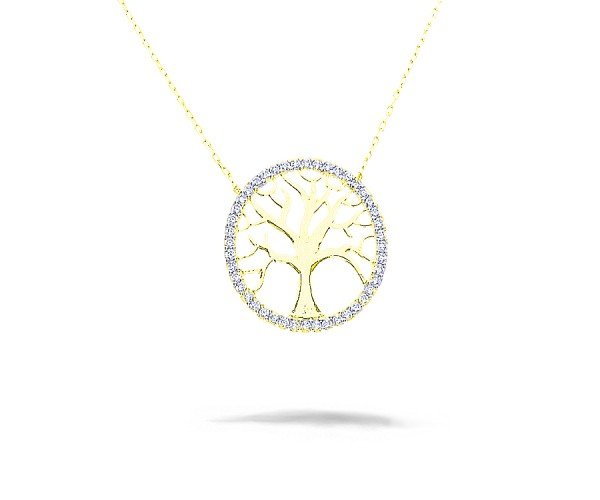 Baum des Lebens Halskette mit Anhänger 925'er Silber vergoldet