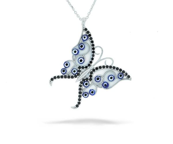 Halskette Schmetterling mit Nazar Armuletten