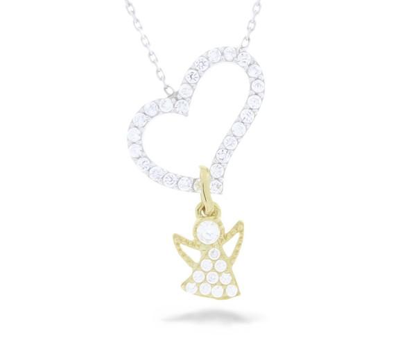 Halskette in 925´er Herz mit goldenem Engel mit Zirkonia Steinen besetzt