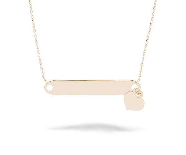 Gravurplatte Halskette mit Herz 925'er Silber