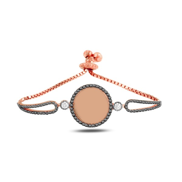 Damen Armband mit Gravurplatte in rosé vergoldet mit Steinen