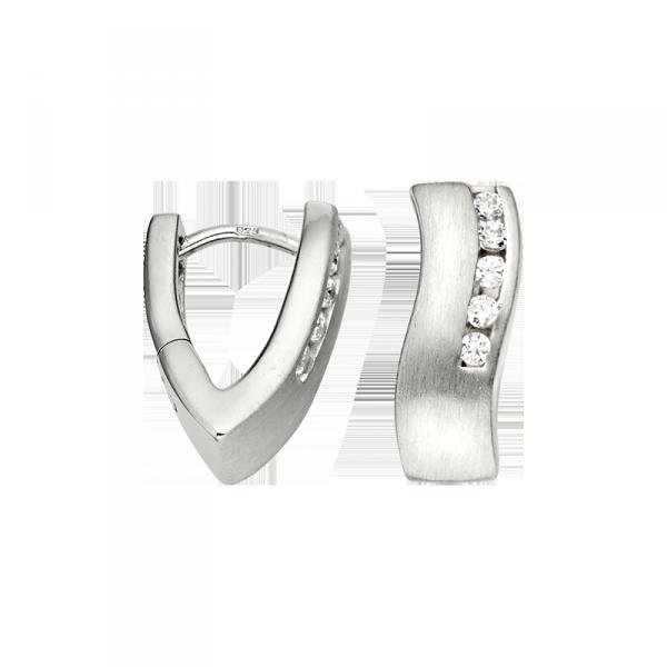 Creole in 925´er Sterling Silber mit Zirkonia und Wellen Design