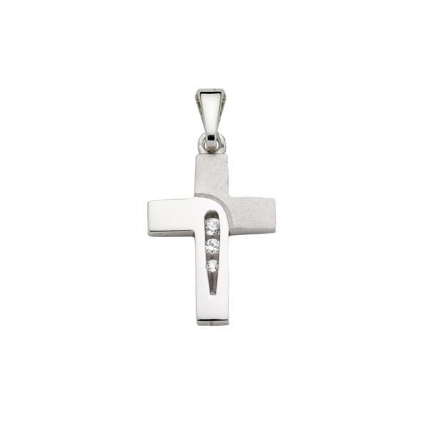 Kreuz Anhänger in 925´er Sterling Silber Hochglanzpoliert und Sandmattiert