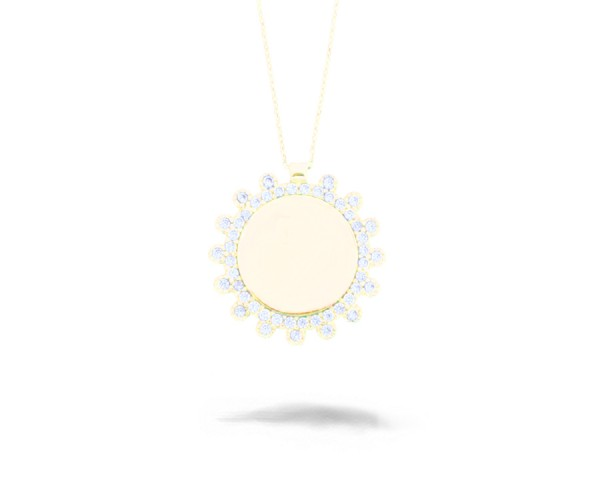 Halskette mit Anhänger 925'er Silber Sonnen-Form vergoldet