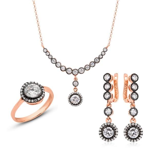 Set mit Ohrstecker Ring und Kette aus 925er Silber in rosé vergoldet