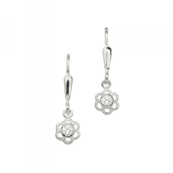 Wunderbare Ohrhänger in 925´er Sterling Silber in Blumenform mit Weißen Steinen