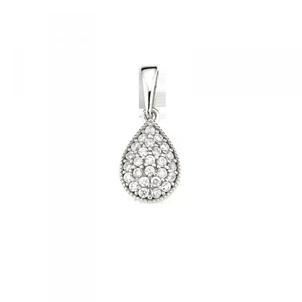 Anhänger in 925 er Sterling Silber in Tropfen Form mit Zirkonia.