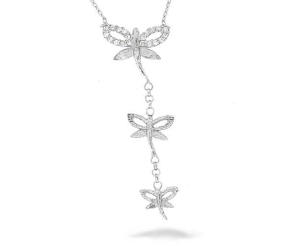 Halskette in 925´er mit drei Libellen