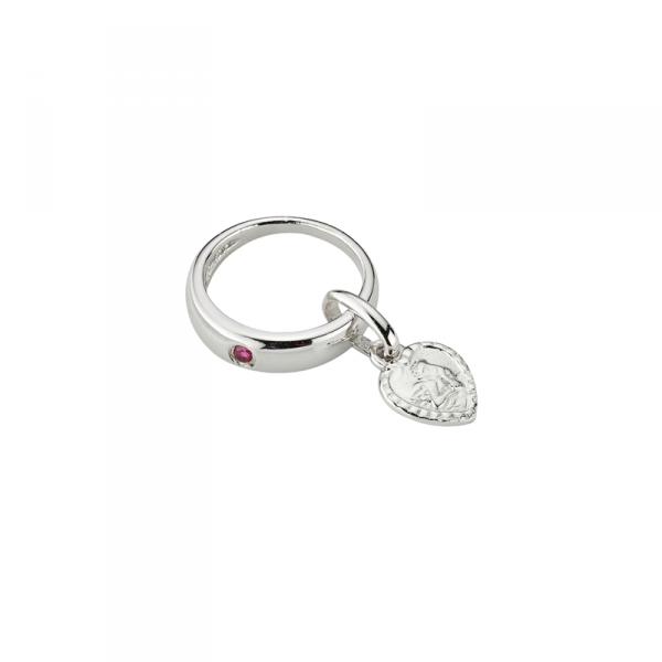 taufanhänger in 925´er Sterling Silber mit Schutzengel und rotem Zirkonia