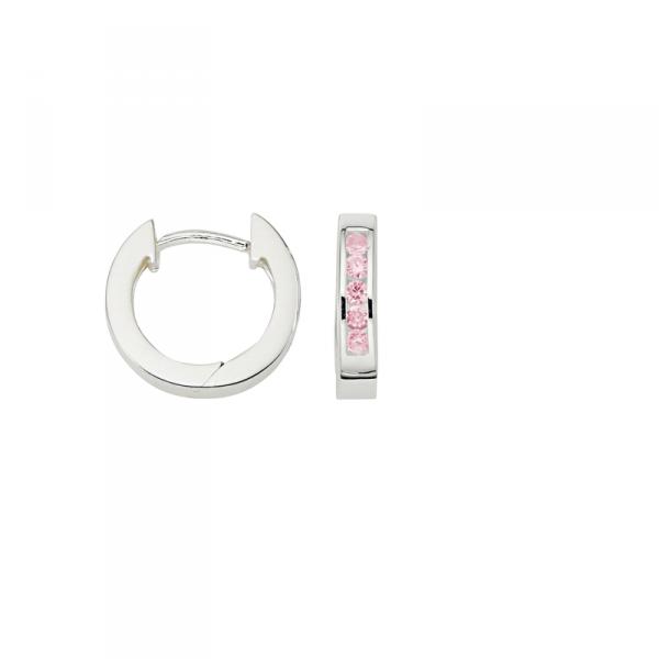 Creole in 925´er Sterling Silber mit rosa Zirkonia Steinen
