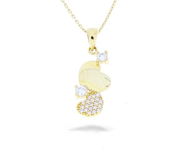 Halskette Herzen mit Steinen in 585er Gold 50247