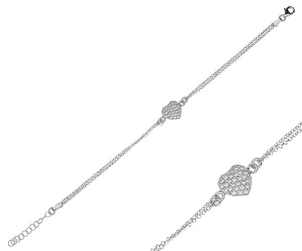 CEM Armband aus 925er Silber mit Herz aus Zilikon Steinen