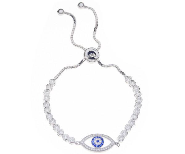 925`er Sterlingsilber Damen Armband mit blauen Auge aus Zirkonia Steinen