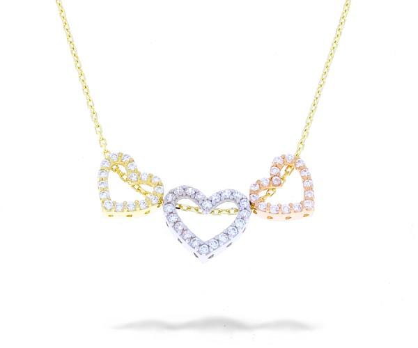 Halskette mit 3 Herzen in 585er Gold