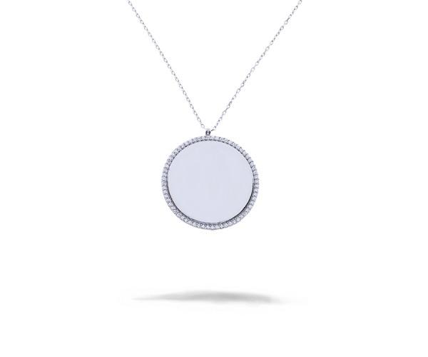 Gravurplatte Halskette mit Anhänger 925'er Silber