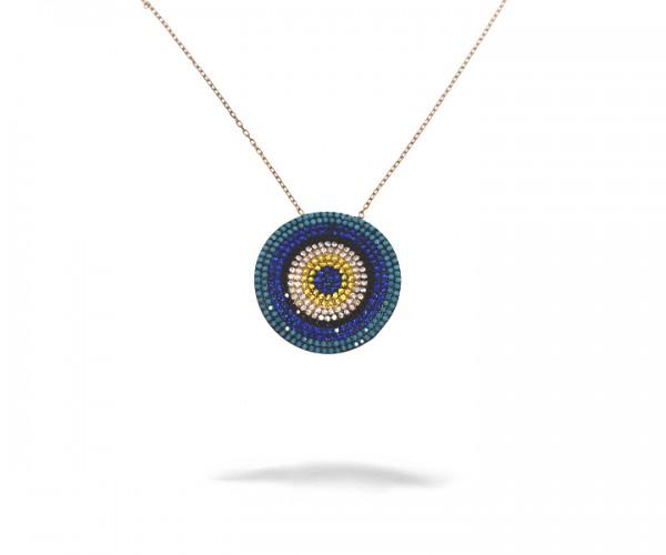 925´er Sterling Silber Halskette mit Nazar Auge Anhänger Rosé vergoldet