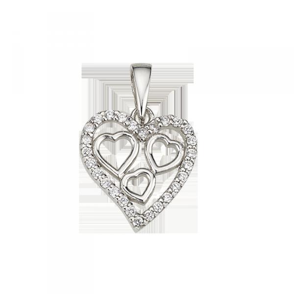 Herzanhänger in 925´er Sterling Silber mit Zirkonia