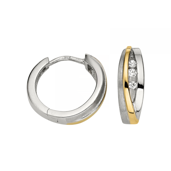 Creole in 925´er Sterling Silber mit Zirkonia Steinen und goldenem Streifen