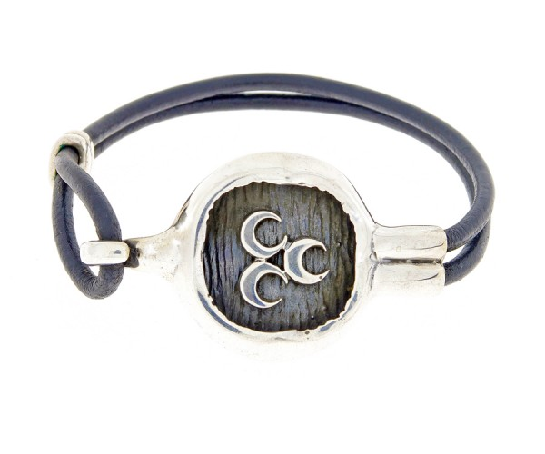 Herrenarmband aus Leder u. Silber '3 Halbmonde', 27 cm