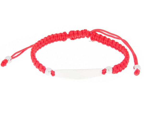 Identitätsarmband Armband mit Gravurplatte in Rot