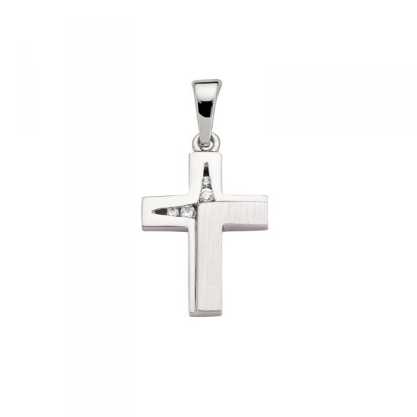 Kreuz Anhänger in 925´er Sterling Silber Hochglanzpoliert und Schrägmattiert