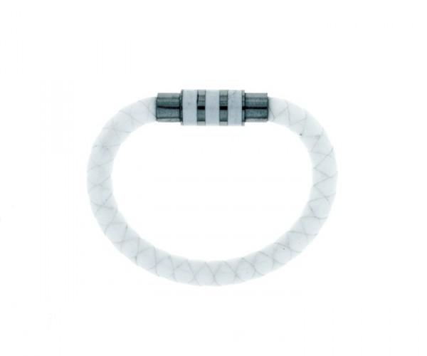 Kautschukarmband weiß mit Stahlverschluss 17 cm