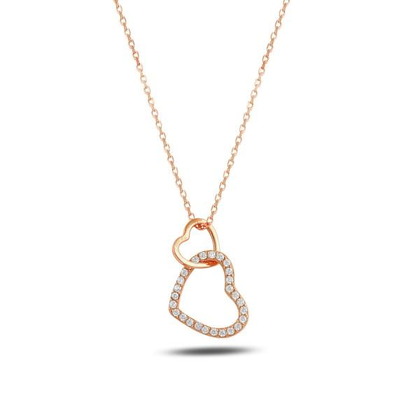 925´er Silber Halskette rose vergoldet mit Herz in Herz-Anhänger