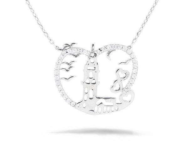 Leanderturm Halskette 925'er Silber