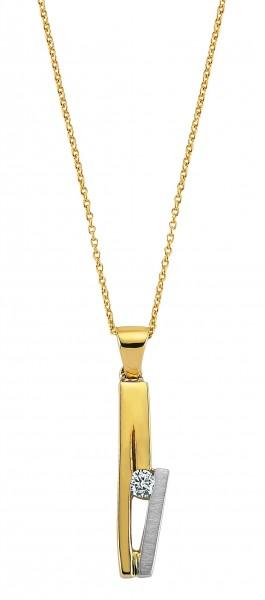 Diamant Anhänger mit Kette in 585`er Gelb- / Weißgold