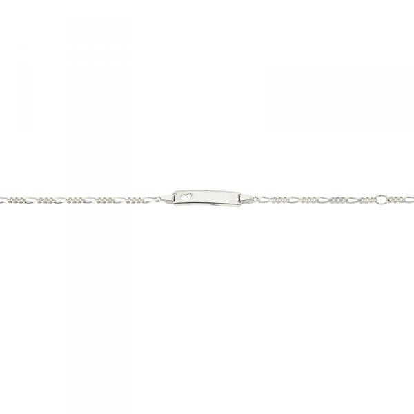 ID Armband in 925´er Sterling Silber mit eingestanzten Herzen und Figarokette